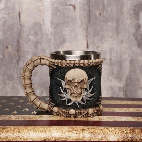 Viking Warrior Skull Gothic Tankard Halloween Skeleton Stainless Beer Tea Cup Coffee Mugs