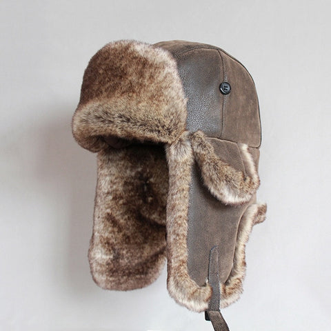Vintage PU Leather Fur Russian Bomber Hat