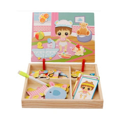 Magnetic Girl Dress Up Wooden Puzzle Board