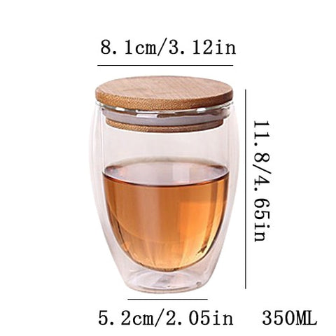 Bamboo Lid Insulate Transparent Double Glass Set Teacup Coffee Mugs