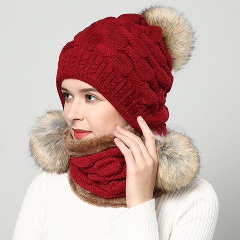 Pompom Fur Knitted Beanie Hat With Scarf