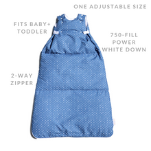 Load image into Gallery viewer, baby snap sack features: one adjustable size, fits baby and toddler, two way zipper, 750 fill power down