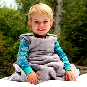 boy wearing baby wool sleeping bag