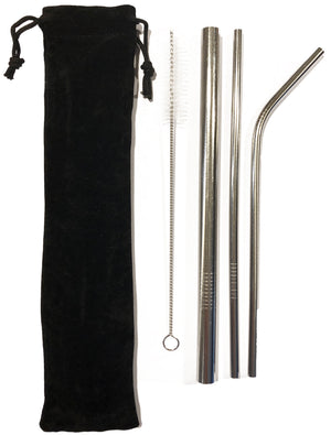 Environmentally friendly STAINLESS STEEL drinking straws + pouch