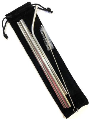stainless steel straw pack with carry pouch