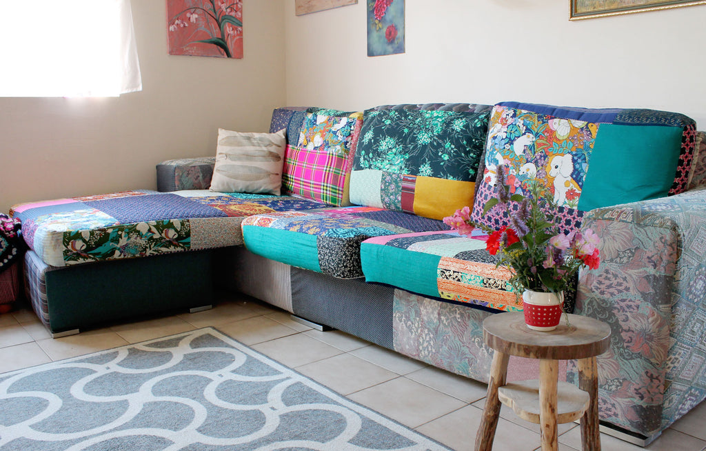 Funky bohemian patchwork couch re-vamped using recycled materials