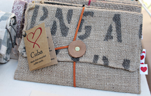 Cuba clutch - made from recycled coffee sacks