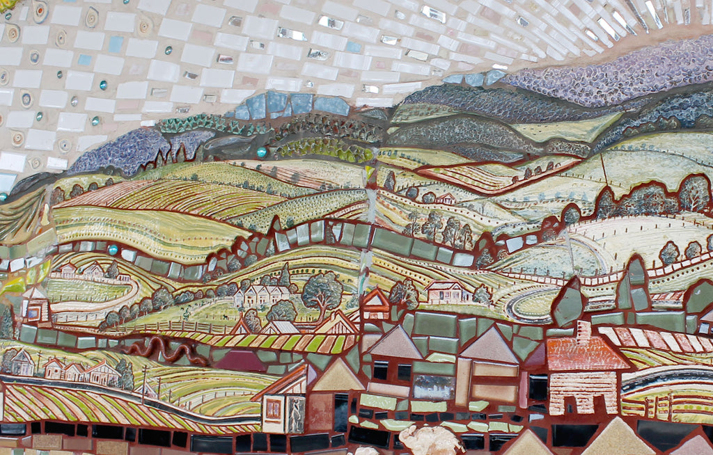Guy Crosley mosaic mural in Dorrigo New South Wales - houses on the hill