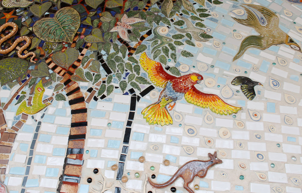 Guy Crosley mosaic mural in Dorrigo New South Wales - parrot details
