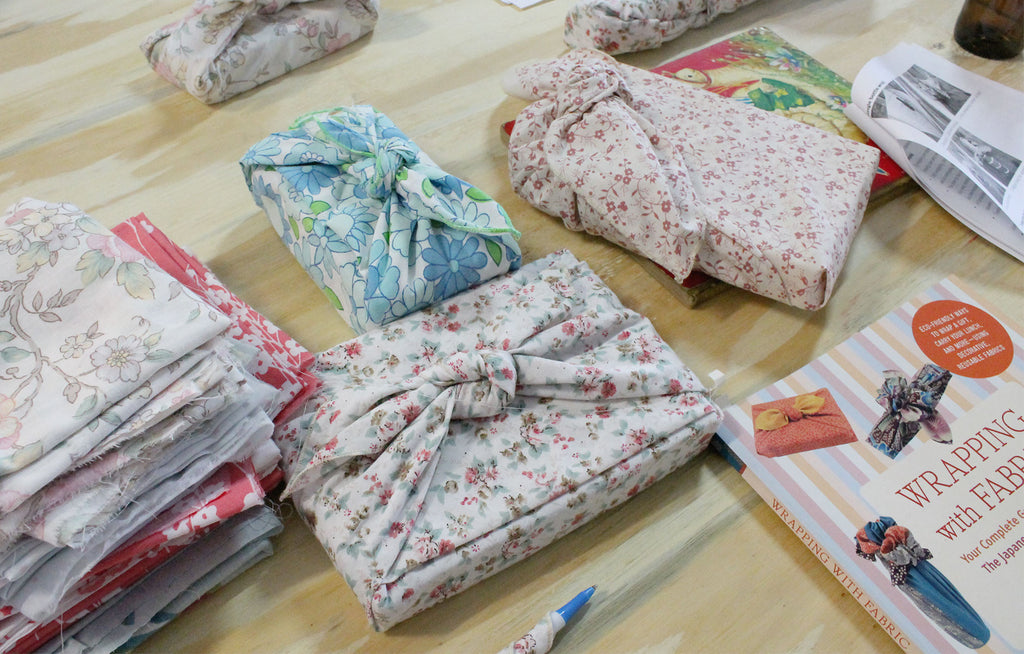 Furoshiki gift wrapping crafternoon workshop at Bridget Bunchy in The Granite Belt.