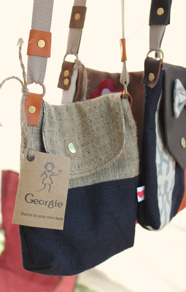 Georgie festival bag - made from remnant fabric and recycled leather