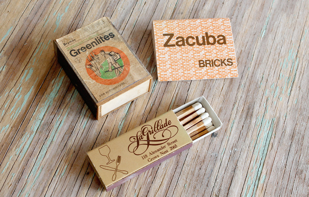 Vintage matchboxes part of our 'Always Loved' old wares range. Queensland Australia