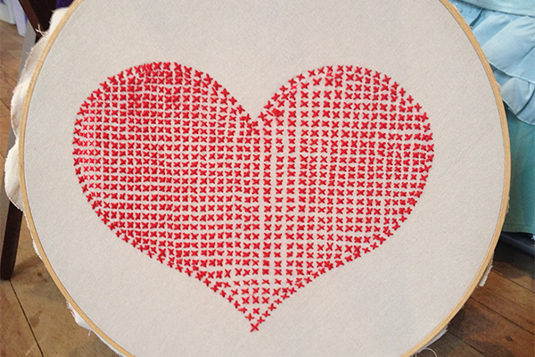 Love heart cross stitch
