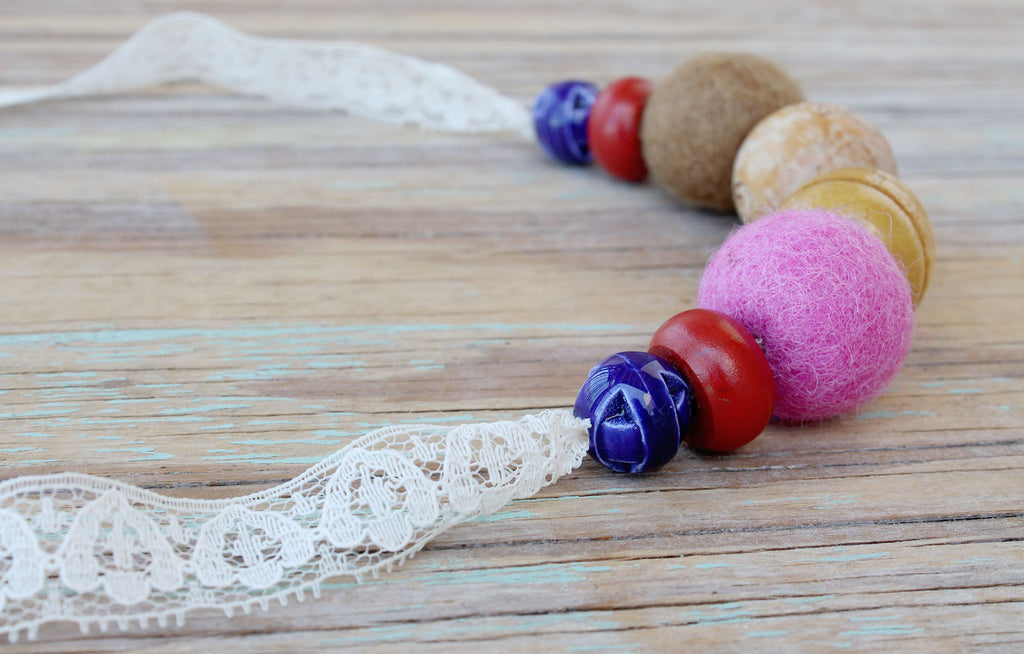 Retro inspired lace bead necklace made in Australia using recycled materials