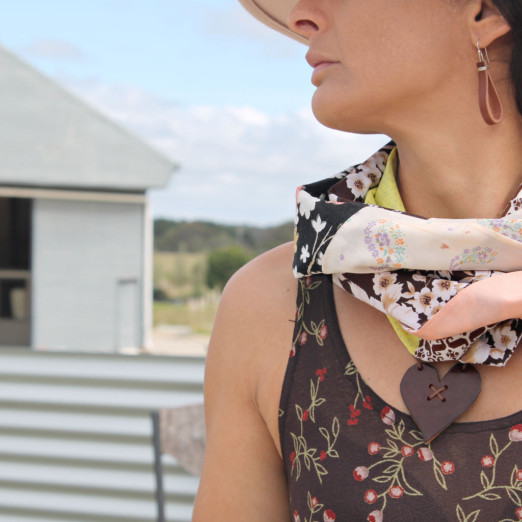 Autumn tones, leather heart camino necklace matched with vintage fabric infinity scarf handmade in Australia