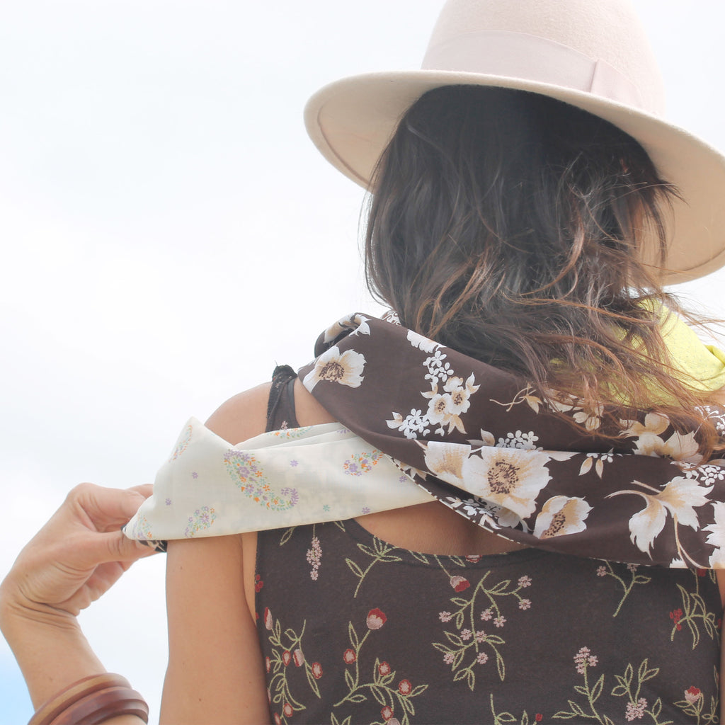 Autumn tones, leather jewellery and patchwork infinity scarf handmade in Australia