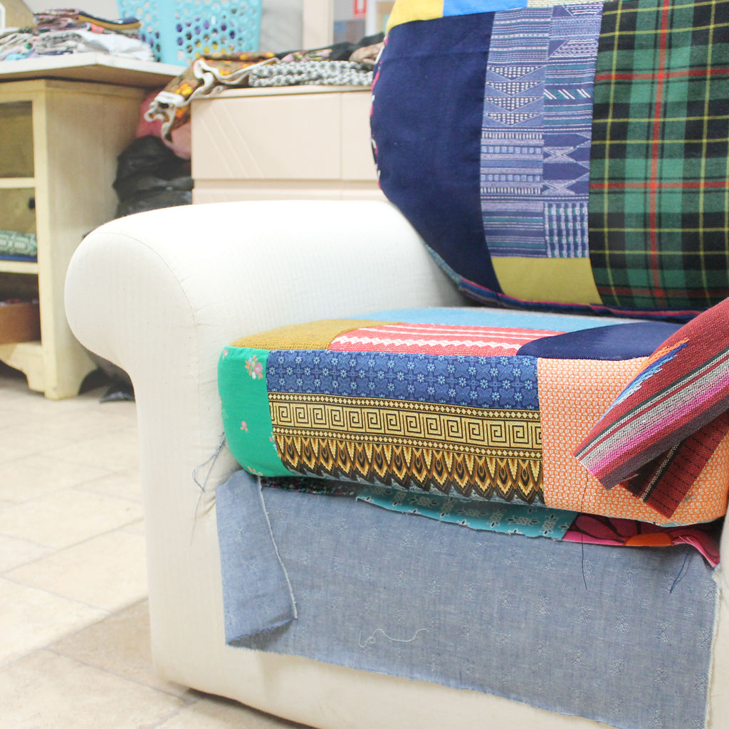 process of making upcycled patchwork armchair