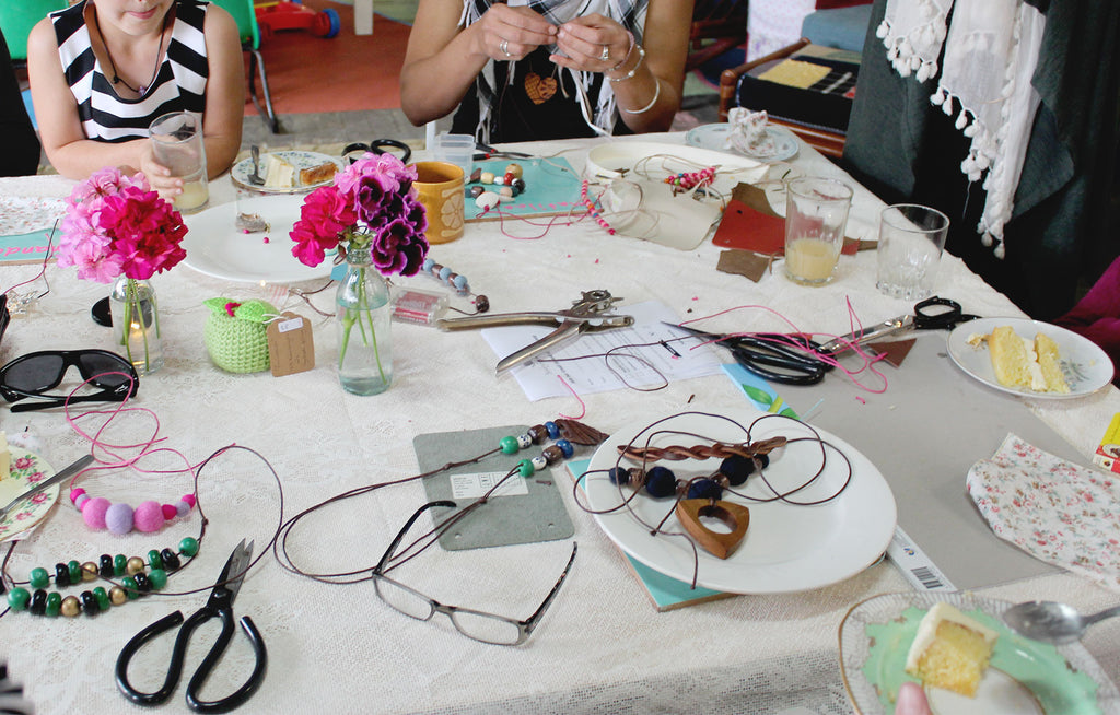 Necklace making afternoon tea craft workshop at our Recycled Gallery in South East Queensland.