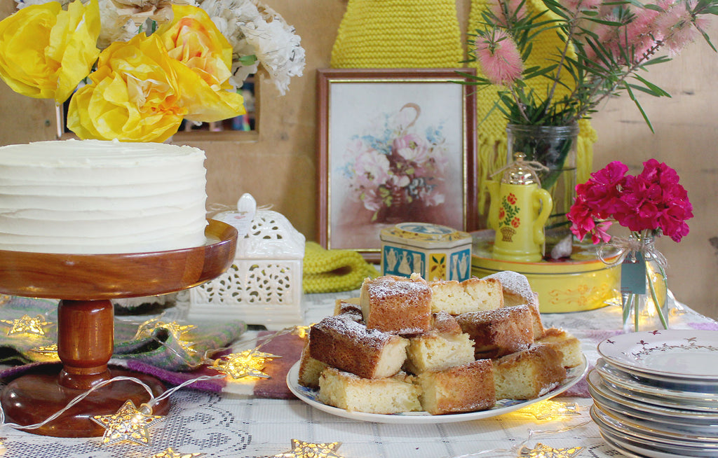 Dreamy lemon cake afternoon tea at our necklace making Crafternoon in The Granite Belt