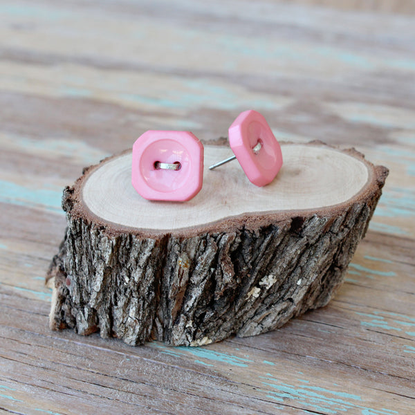 Candy Squares (Real Button Earrings)