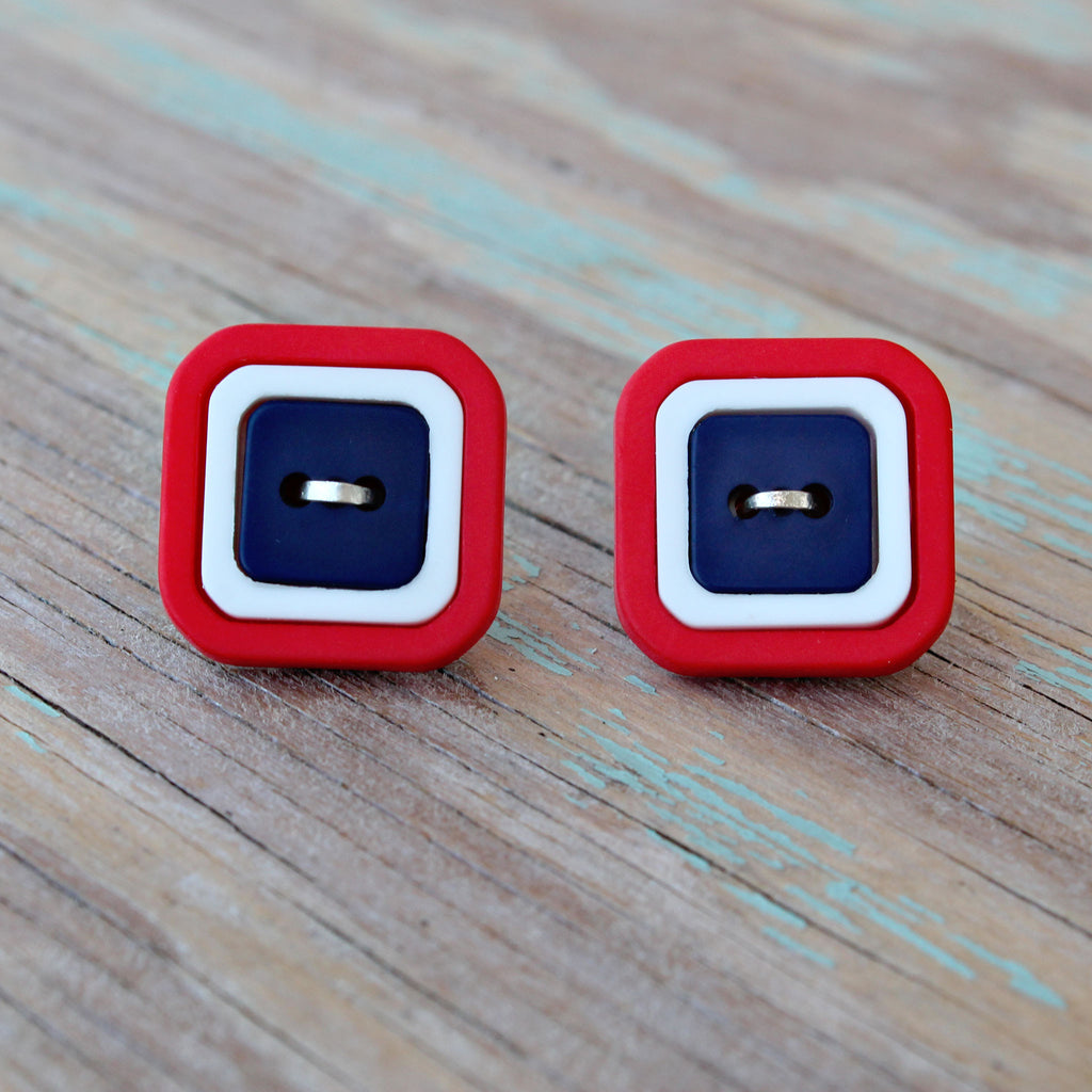Blast (Real Button Earrings)