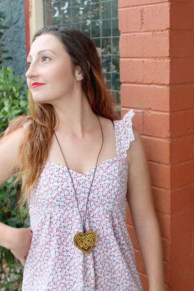 Sunshine Yellow (Sweetheart leather necklace)