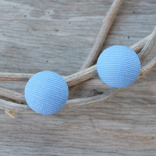 Lux Linen Studs - Mineral Blue