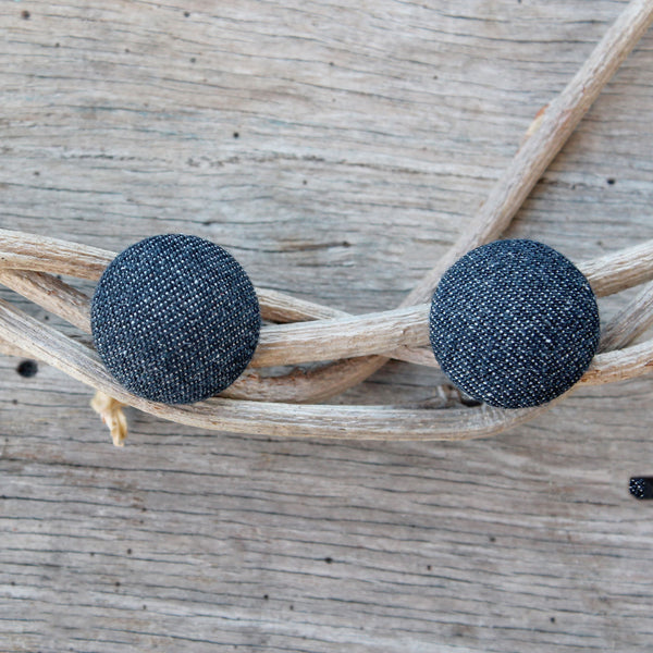 Lux Linen Studs - charcoal