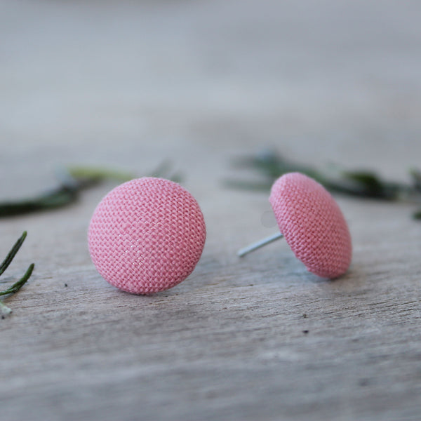 Lux Linen Studs - Rose Pink