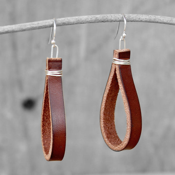 Leather Hoop Earrings