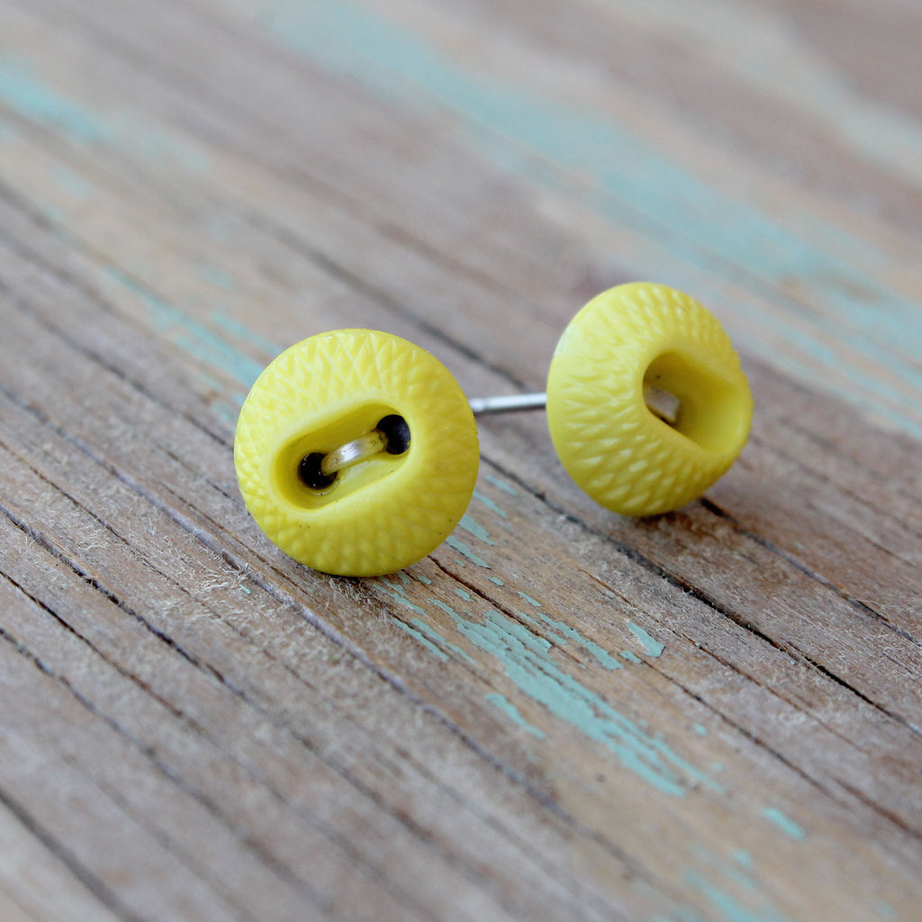 Lemon Meringue (Real Button Earrings)