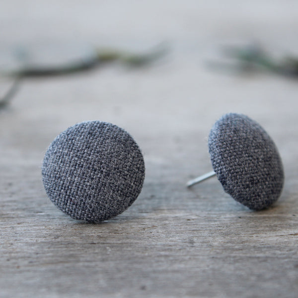 Lux Linen Studs - winter grey