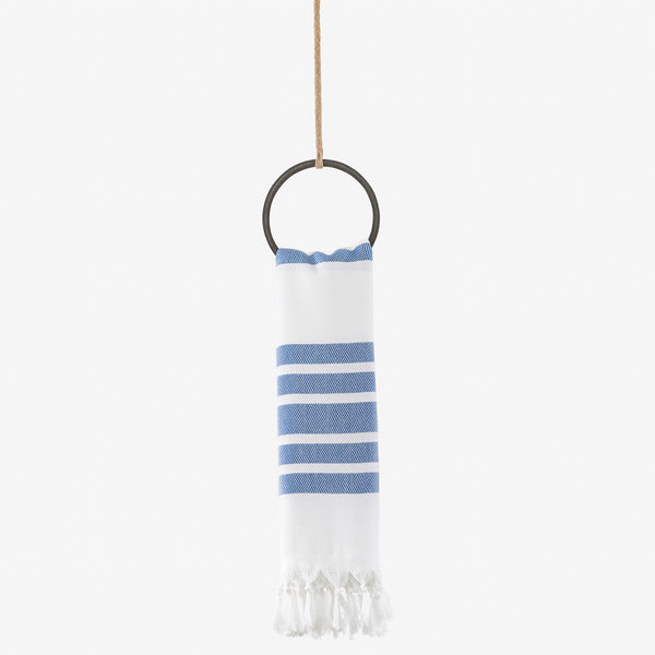 turkish towel herringbone blue