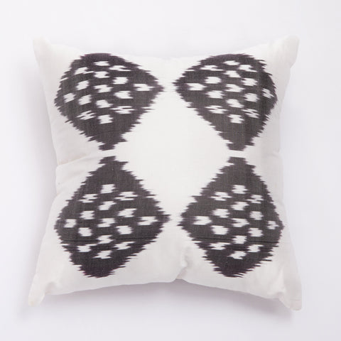 ikat cushion black and white