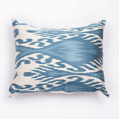 ikat cushion blue and white