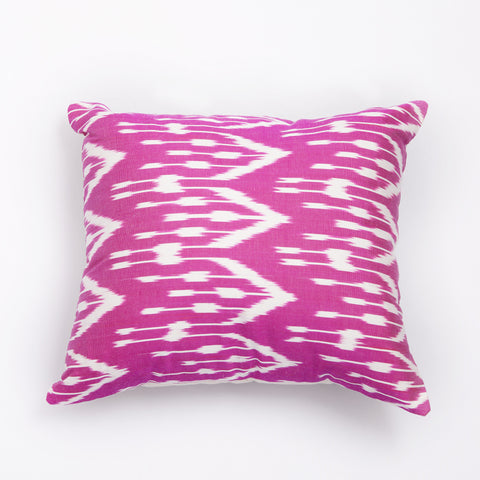 ikat cushion fuschia