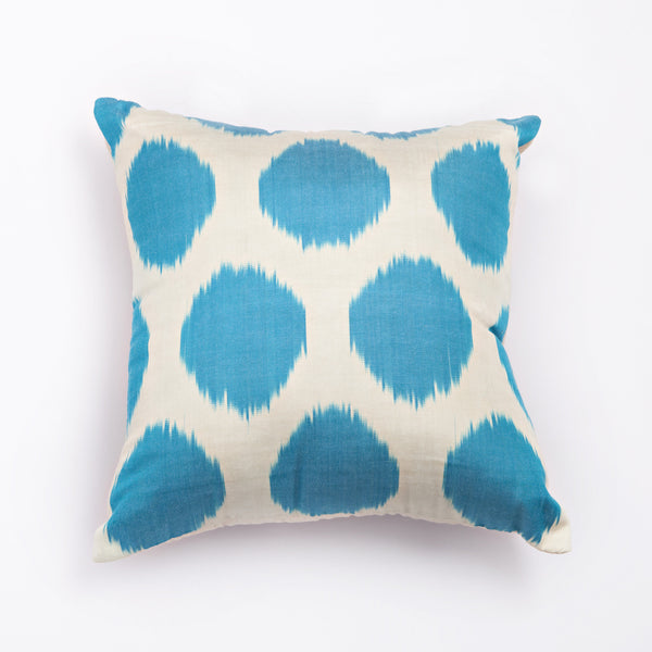 ikat cushion blue spotted