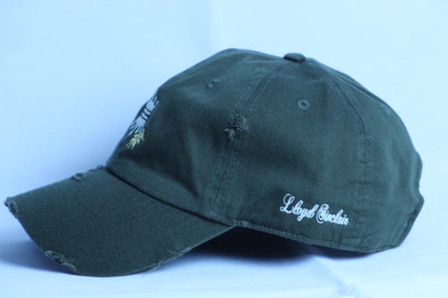 OLIVE DISTRESS CROWN DAD CAP
