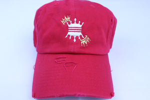 RED DISTRESS CROWN DAD CAP