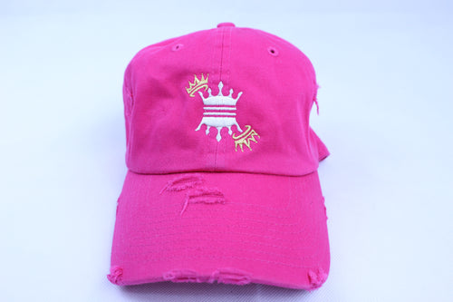 PINK DISTRESS CROWN DAD CAP