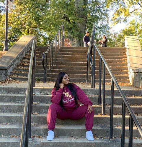 UNISEX CROWN BURGUNDY SWEATSUIT