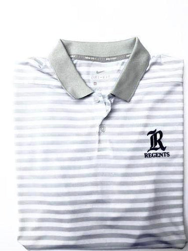 Nike White & Grey Stripe Polo