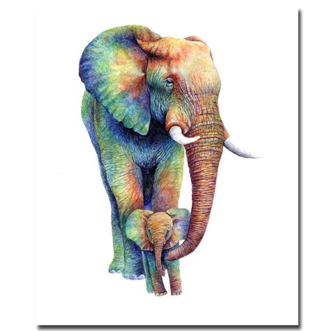 Image of Maternal Love Elephant Painting