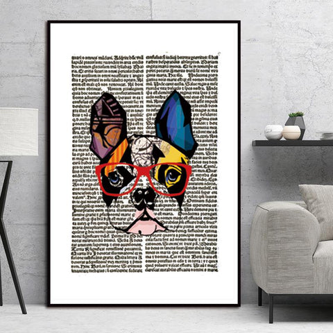Image of Dog Wearing Glasses Newspaper Wall Art