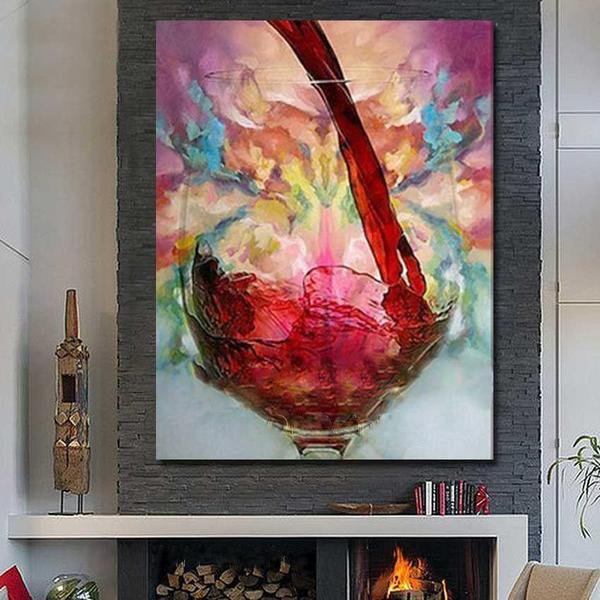 Hand Painted Still Life Red Wine Abstract