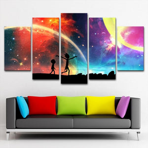 Rick And Morty Colorful Starry Sky Canvas Wall Art