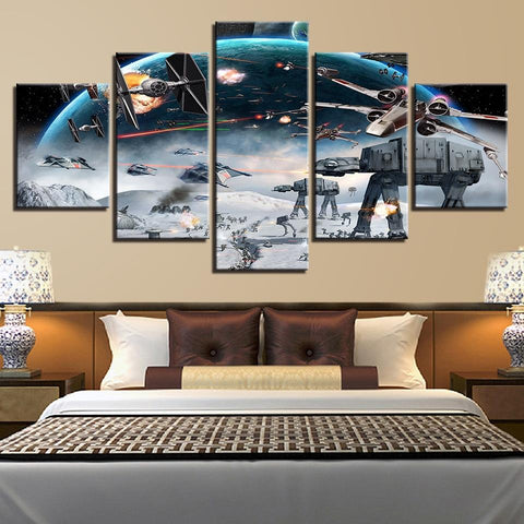 Image of Millennium Falcon X-Wing Star Wars Canvas Wall Art