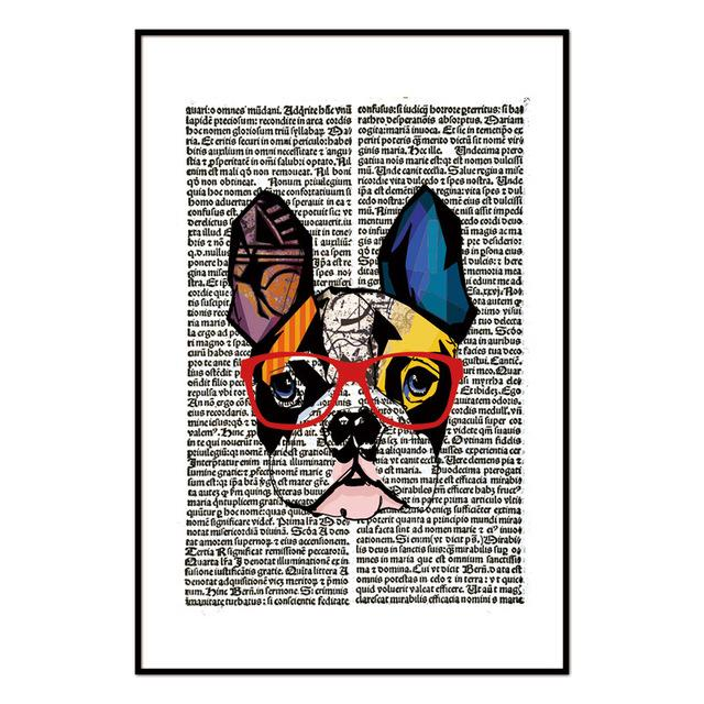 Dog Wearing Glasses Newspaper Wall Art