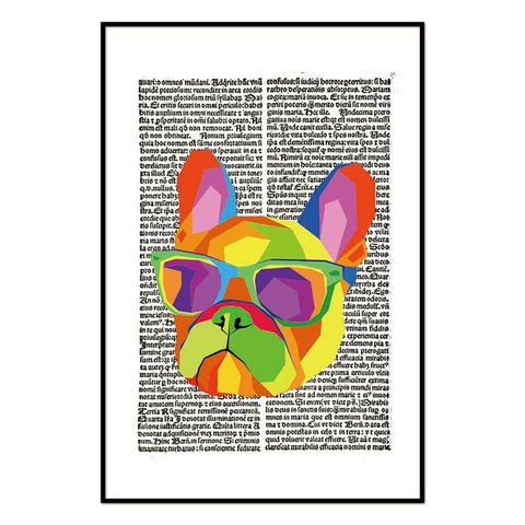 Colorful Pit Bull Newspaper Wall Art