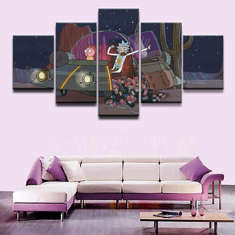 Rick And Morty On Spaceship Canvas Wall Art